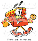 Illustration of a Red Cartoon Telephone Mascot Speed Walking or Jogging by Toons4Biz