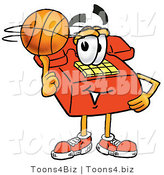 Illustration of a Red Cartoon Telephone Mascot Spinning a Basketball on His Finger by Toons4Biz