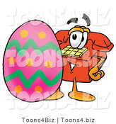 Illustration of a Red Cartoon Telephone Mascot Standing Beside an Easter Egg by Toons4Biz