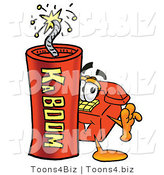 Illustration of a Red Cartoon Telephone Mascot Standing with a Lit Stick of Dynamite by Toons4Biz