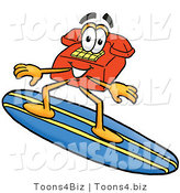 Illustration of a Red Cartoon Telephone Mascot Surfing on a Blue and Yellow Surfboard by Toons4Biz