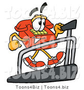Illustration of a Red Cartoon Telephone Mascot Walking on a Treadmill in a Fitness Gym by Toons4Biz