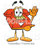 Illustration of a Red Cartoon Telephone Mascot Waving and Pointing by Toons4Biz
