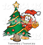 Illustration of a Red Cartoon Telephone Mascot Waving and Standing by a Decorated Christmas Tree by Toons4Biz