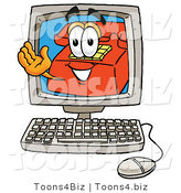 Illustration of a Red Cartoon Telephone Mascot Waving from Inside a Computer Screen by Toons4Biz