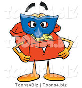 Illustration of a Red Cartoon Telephone Mascot Wearing a Blue Mask over His Face by Toons4Biz