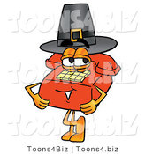 Illustration of a Red Cartoon Telephone Mascot Wearing a Pilgrim Hat on Thanksgiving by Toons4Biz