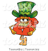 Illustration of a Red Cartoon Telephone Mascot Wearing a Saint Patricks Day Hat with a Clover on It by Toons4Biz