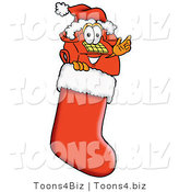 Illustration of a Red Cartoon Telephone Mascot Wearing a Santa Hat Inside a Red Christmas Stocking by Toons4Biz