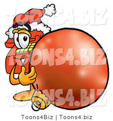 Illustration of a Red Cartoon Telephone Mascot Wearing a Santa Hat, Standing with a Christmas Bauble by Toons4Biz