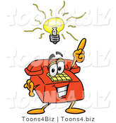 Illustration of a Red Cartoon Telephone Mascot with a Bright Idea by Toons4Biz
