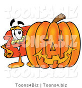 Illustration of a Red Cartoon Telephone Mascot with a Carved Halloween Pumpkin by Toons4Biz