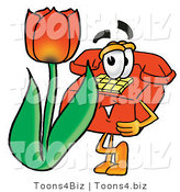 Illustration of a Red Cartoon Telephone Mascot with a Red Tulip Flower in the Spring by Toons4Biz