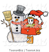 Illustration of a Red Cartoon Telephone Mascot with a Snowman on Christmas by Toons4Biz
