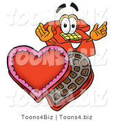 Illustration of a Red Cartoon Telephone Mascot with an Open Box of Valentines Day Chocolate Candies by Toons4Biz