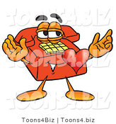 Illustration of a Red Cartoon Telephone Mascot with His Heart Beating out of His Chest by Toons4Biz