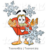 Illustration of a Red Cartoon Telephone Mascot with Three Snowflakes in Winter by Toons4Biz
