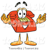 Illustration of a Red Cartoon Telephone Mascot with Welcoming Open Arms by Toons4Biz