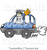 Illustration of a Science Beaker Mascot Driving a Blue Car and Waving by Toons4Biz
