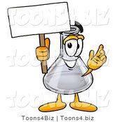 Illustration of a Science Beaker Mascot Holding a Blank Sign by Toons4Biz