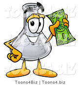 Illustration of a Science Beaker Mascot Holding a Dollar Bill by Toons4Biz