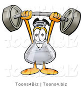 Illustration of a Science Beaker Mascot Holding a Heavy Barbell Above His Head by Toons4Biz