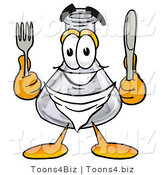 Illustration of a Science Beaker Mascot Holding a Knife and Fork by Toons4Biz
