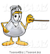 Illustration of a Science Beaker Mascot Holding a Pointer Stick by Toons4Biz