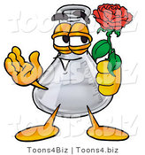 Illustration of a Science Beaker Mascot Holding a Red Rose on Valentines Day by Toons4Biz