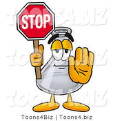 Illustration of a Science Beaker Mascot Holding a Stop Sign by Toons4Biz