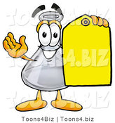 Illustration of a Science Beaker Mascot Holding a Yellow Sales Price Tag by Toons4Biz