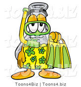 Illustration of a Science Beaker Mascot in Green and Yellow Snorkel Gear by Toons4Biz