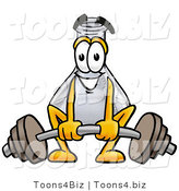 Illustration of a Science Beaker Mascot Lifting a Heavy Barbell by Toons4Biz