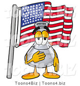 Illustration of a Science Beaker Mascot Pledging Allegiance to an American Flag by Toons4Biz