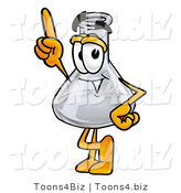 Illustration of a Science Beaker Mascot Pointing Upwards by Toons4Biz