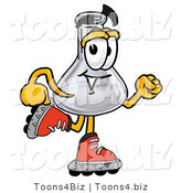 Illustration of a Science Beaker Mascot Roller Blading on Inline Skates by Toons4Biz