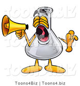 Illustration of a Science Beaker Mascot Screaming into a Megaphone by Toons4Biz