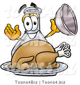 Illustration of a Science Beaker Mascot Serving a Thanksgiving Turkey on a Platter by Toons4Biz