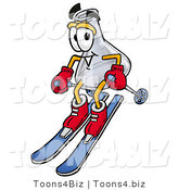 Illustration of a Science Beaker Mascot Skiing Downhill by Toons4Biz