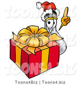 Illustration of a Science Beaker Mascot Standing by a Christmas Present by Toons4Biz