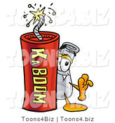 Illustration of a Science Beaker Mascot Standing with a Lit Stick of Dynamite by Toons4Biz