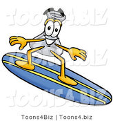 Illustration of a Science Beaker Mascot Surfing on a Blue and Yellow Surfboard by Toons4Biz