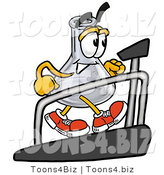 Illustration of a Science Beaker Mascot Walking on a Treadmill in a Fitness Gym by Toons4Biz