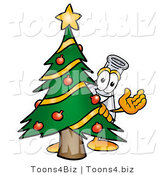 Illustration of a Science Beaker Mascot Waving and Standing by a Decorated Christmas Tree by Toons4Biz