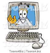 Illustration of a Science Beaker Mascot Waving from Inside a Computer Screen by Toons4Biz
