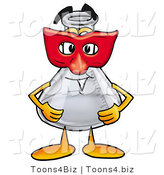 Illustration of a Science Beaker Mascot Wearing a Red Mask over His Face by Toons4Biz