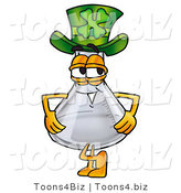 Illustration of a Science Beaker Mascot Wearing a Saint Patricks Day Hat with a Clover on It by Toons4Biz