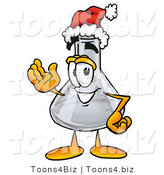 Illustration of a Science Beaker Mascot Wearing a Santa Hat and Waving by Toons4Biz