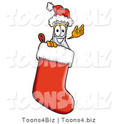 Illustration of a Science Beaker Mascot Wearing a Santa Hat Inside a Red Christmas Stocking by Toons4Biz