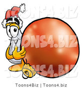 Illustration of a Science Beaker Mascot Wearing a Santa Hat, Standing with a Christmas Bauble by Toons4Biz
